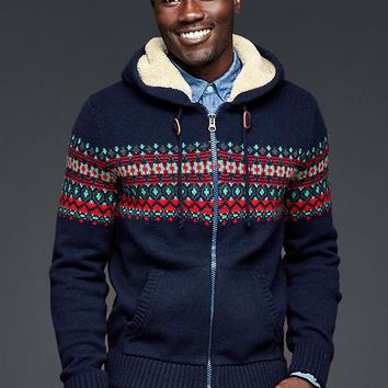 Gap Men Sherpa Fair Isle Zip Sweater Hoodie