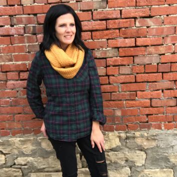 Green Sherpa Lined Flannel Top