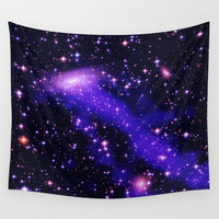 GAlaxy Purple Hot Pink Stars Wall Tapestry by 2sweet4words Designs