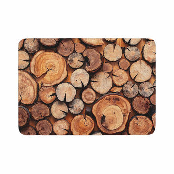 "Susan Sanders ""Rustic Wood Logs"" Brown Tan Memory Foam Bath Mat"