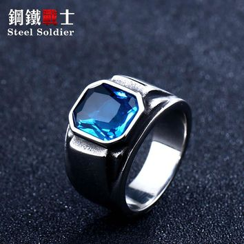 steel Korean fashion 2018 new solider green stone ring for women blue stone high polished men ring stainless steel jewelry