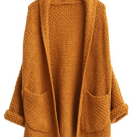 Khaki Open Front Cardigan With Oversized Pocket - Choies.com