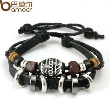 Wrap Black Leather Rope Bracelet for Men Colorful Wooden Beads and Metal Charms Fashion Jewelry PI0274