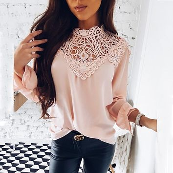 2019 Spring New Women's Hot Sale Casual Long-Sleeved O-neck Elegant Ladies Shirt Chiffon Shirt Vintage Lace Party Female Blouse