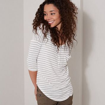 FITZ + EDDI STRIPED HENLEY TOP