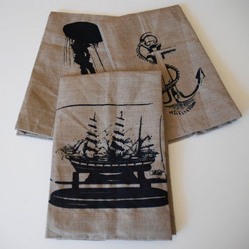 Shipmate Screen Printed Linen Hand Towels Set of 3- Nautical- Guest Towels- Ship in a Bottle- Jellyfish- Anchor- kicthen towel