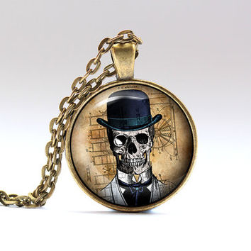Skull jewelry Steampunk necklace Gothic pendant SNW22