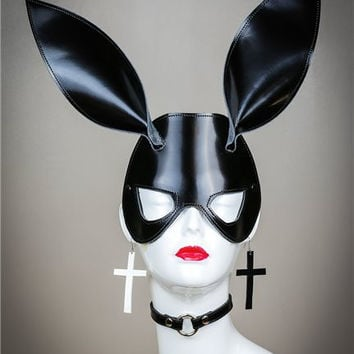 Black Leather Glossy Bunny Rabbit Ears Mask Cosplay Fetish