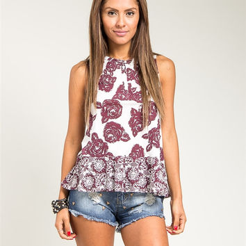 Spring Rose Patterned Sleeveless Top