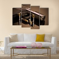 Handgun And Hollow Points Multi Panel Canvas Wall Art