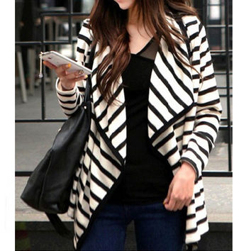 Black And White Striped Lapel Cardigan Coat
