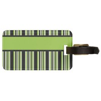 Green Stripes Ready to Personalize Tag For Bags