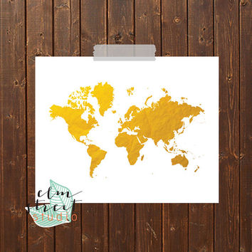 World Map Gold Foil Print  Gold Foil Print  Gold Print  Typography Print  Map Print  Inspirational Decor  World Poster World Print