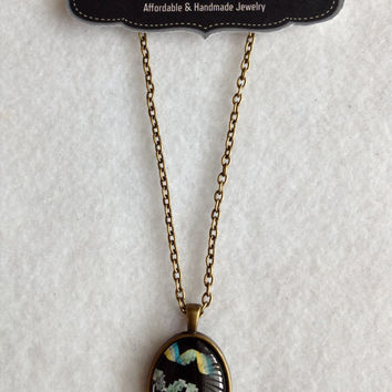 Modern Art, Squiggle Art, DNA Postage Stamp, Postal Stamp Glass Cabochon on Bronze Chain Necklace