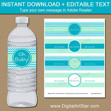 Printable Baby Shower Water Bottle Labels - Mint Turquoise Party Decorations - Bridal Shower Water Labels - Mint Green Wedding Decorations