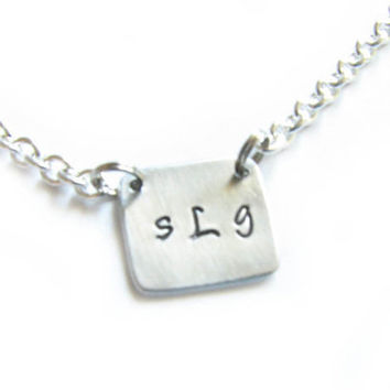 Square Initial Necklace Custom Hand Stamped Monogram Pendant Personalized Aluminum or Brass
