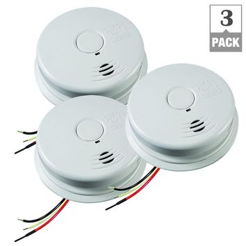 Kidde Worry Free Hardwired Inter-Connectable 120-Volt Smoke Alarm with 10-Year Lithium Battery Back Up (3-Pack)-21025981 - The Home Depot