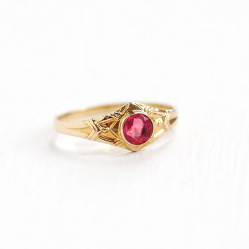 Vintage Art Deco 10k Yellow Gold Child's Simulated Pink Sapphire Ring - 1930s Size 1 Tiny Baby Repousse Design Fine Jewelry Hallmarked BDA