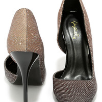 Where There's Smoke Black Ombre Glitter D'Orsay Pumps