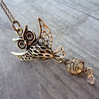 Bronze Owl Bird  Birds Sunshine Yellow Citrine Wire Wrapped bead crystal Necklace Pendant Brass Handmade Jewelry Beading Animal