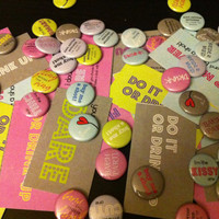25 buttons and 48 Dare Cards - Bachelorette Party Pack