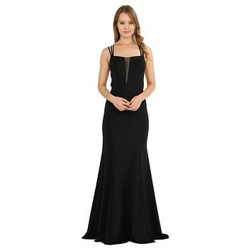 Black Long Prom Dress with Strappy Open-Back