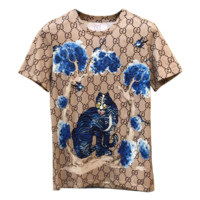 GUCCI Summer New Fashion Tiger More Letter Print Women Top T-Shirt
