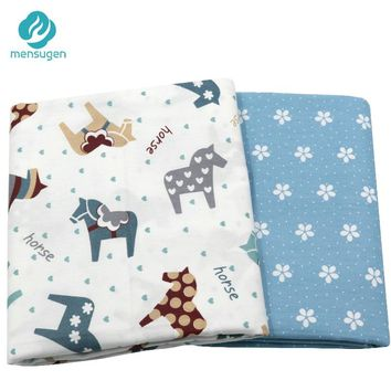 Mensugen Cartoon Horse and Flower Twill 100% Cotton Fabric Meters for Patchwork Quilting Baby Bedding Sewing Material