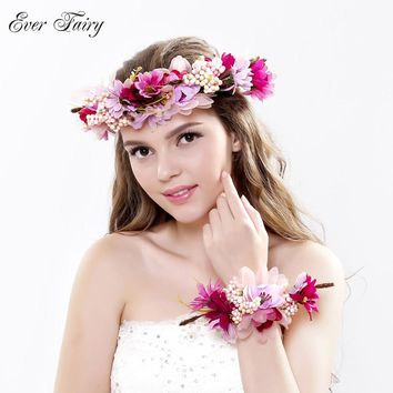 2pc set Women Wedding Rose Flower Wreath headband and wrist Kids Party flower crown and Bracelet with Ribbon Adjustable garlands