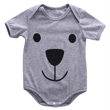 Rompers  Cotton Cute Bear Gray 2016 Newborn Kids Baby Boys Girl Clothing Infant Romper Jumpsuit Outfit Summer 3 - 24 Monthes