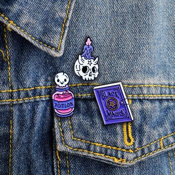 Cartoon Skull Candle Black Magic Book Poison Potion Brooches Leather Coat Lapel Halloween  Wizard Witch gift for kids and friend