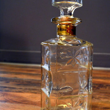 Vintage Hiram Walker Bourbon Whiskey Glass Bottle Decanter