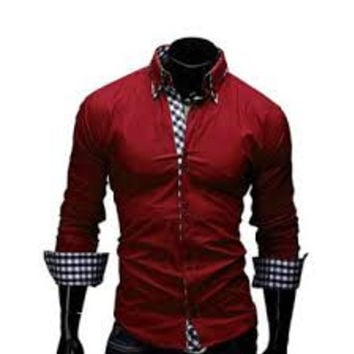 2017 New Fashion Men Long Sleeved Turn Down Collar Shirt Male Business Shirts