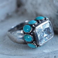 Vintage Sterling Silver Chunky Ring with Turquoise and Cubic Zirconia size 7.25