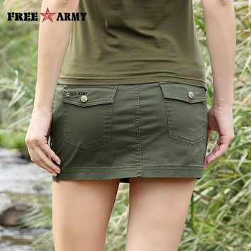 New Sexy Mini Skirt For Women Summer Fashion Style Mid Waist Army Green Skirts Female Pockets Camo Zipper Skirt Casual Gk-9511