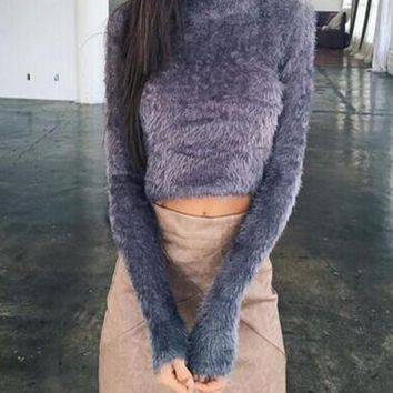 Grey Crop Fuzzy High Neck Long Sleeve Fashion Pullover Sweater