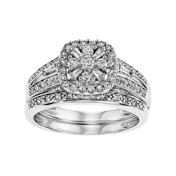 Simply Vera Vera Wang Certified Diamond Square Halo Engagement Ring Set in 14k White Gold (1/2 Carat T.W.)