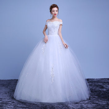 Wedding Dresses 2016 New Lace Bridal Gowns Pleat Elegant  Ball Gown Appliques Boat Neck Petite Wedding Beading vestidos de novia