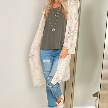 Long Sleeve Knit Cardigan Cream
