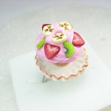 Fruity in Pink Cute Cupcake Ring - polymer clay food jewelry , food ring