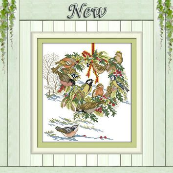 The wedding birds flower painting counted print on canvas DMC 14CT 11CT DMC Cross Stitch chinese Embroidery kits Needlework Sets
