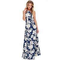 Vintage Floral Print Summer Long Maxi Dress Off Shoulder Sexy Women Causal Dress Plus Size Beach Party Dresses Vestidos-0331