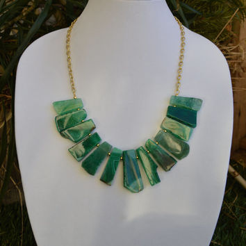 Emerald Green Agate with Gold Chain Bib Statement Necklace