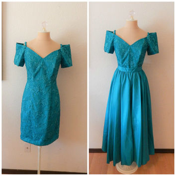 Vintage 80s Aqua Teal Lace Off Shoulder Mini Prom Dress Removable Maxi Skirt Medium