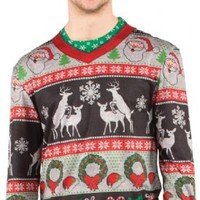 Mens Faux Ugly Christmas Frisky Deer Sweater Long Sleeve Tee