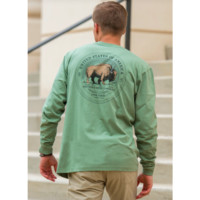 Southern Shirt Company Buffalo Nickel Long Sleeve Tee- Hedge Green