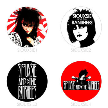 Siouxsie and the Banshees - Set of 4 - Siouxsie Sioux Post-Punk Goth Buttons Pins Badges Pinback