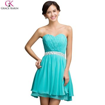 Turquoise Grace Karin Cocktail Dresses Beaded Chiffon Short Formal Dress Strapless Robe De Soiree Courte Pretty Cocktail Party