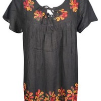 Boho Hippie Ethnic Style Blouse Floral Embroidered Black Red Summer Tunic Tops