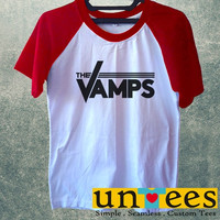 Women's Short Sleeve Raglan Baseball T-shirt - The Vamps Band Logo design